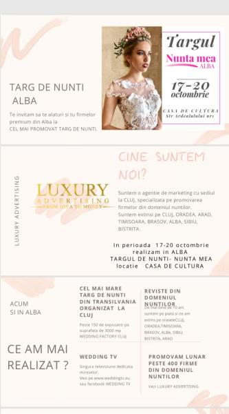 """Între 17 și 20 octombrie, Târgul de nunți """"Nunta mea"""" Alba"""
