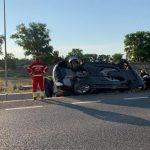 Săliștea - Doi minori au fost răniți! Autoturismul în care erau s-a răsturnat în afara carosabilului