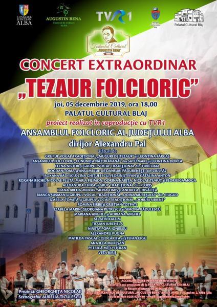 PALATUL CULTURAL DIN BLAJ va găzdui concertul extraordinar TEZAUR FOLCLORIC