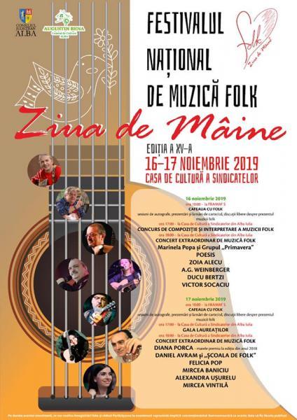 """Festivalul Național de Muzică Folk ,,Ziua de mâine"""" are loc la Alba Iulia între 16 și 17 noiembrie 2019"""
