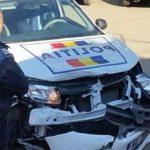 Accident rutier în care au fost implicate un autoturism și o autospecială de poliție