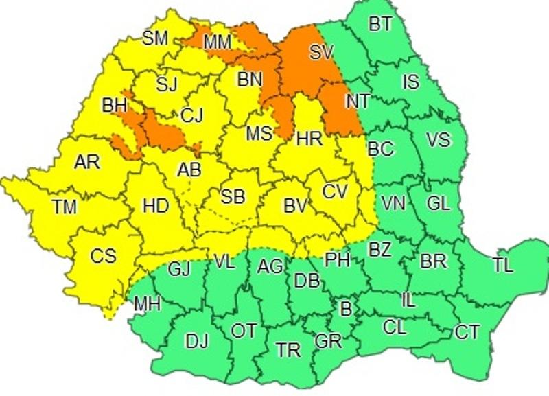 Județul Alba rămâne sub avertizare COD GALBEN de vreme severă până la ora 20