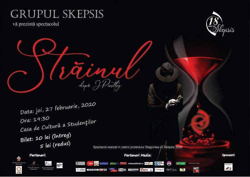 """Proiectul cultural """"Stagiunea cu Skepsis 2020"""" continuă cu spectacolul STRĂINUL!"""