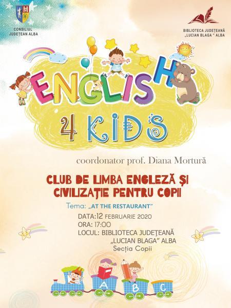 """Proiectul """"English 4 Kids"""" continuă la Biblioteca Județeană """"Lucian Blaga"""" Alba"""