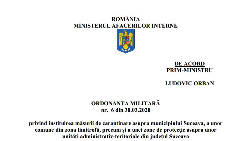 Textul integral al Ordonanței militare 6!
