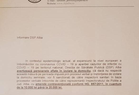 Coronavirus - DSP Alba avertizează persoanele care nu respectă măsura de izolare la domiciliu că vor fi amendate
