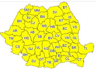 Instabilitatea atmosferică temporar accentuată continuă pe tot teritoriul României și în weekend!