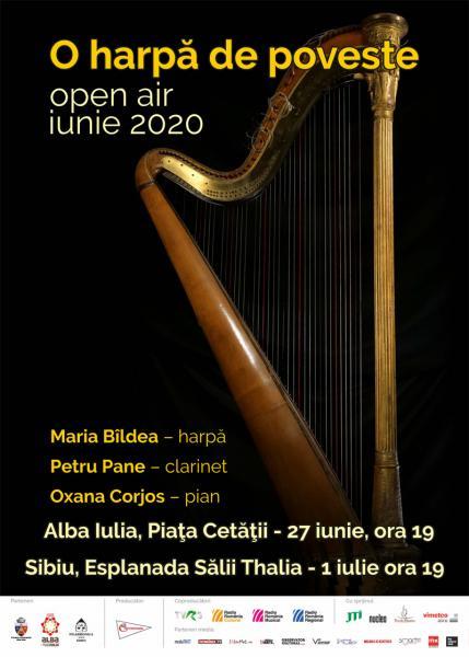 """""""O harpă de poveste"""" la Alba Iulia şi Sibiu, în aer liber, pe 27 iunie si 1 iulie"""