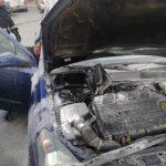 Incendiu! O mașină a luat foc pe o stradă din Aiud (foto)