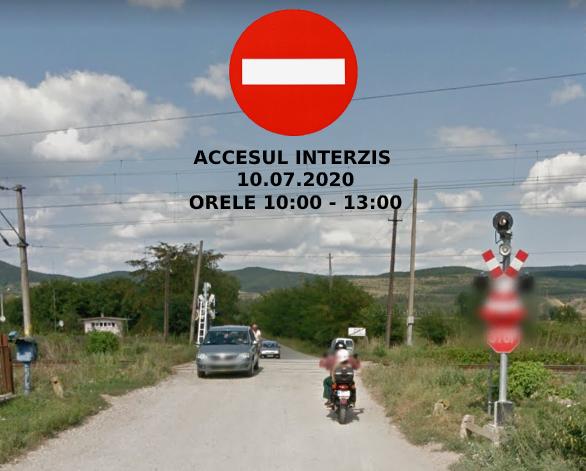 Accesul rutier interzis peste trecerea de cale ferată din capătul străzii Tribun Tudoran din Aiud