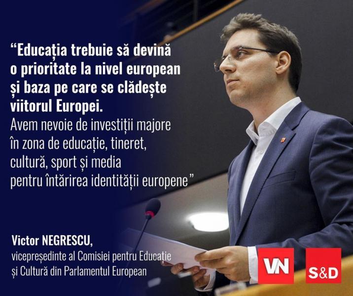 Europarlamentarul Victor Negrescu a fost ales vicepreședintele Comisiei pentru Educație și Cultură din Parlamentul European