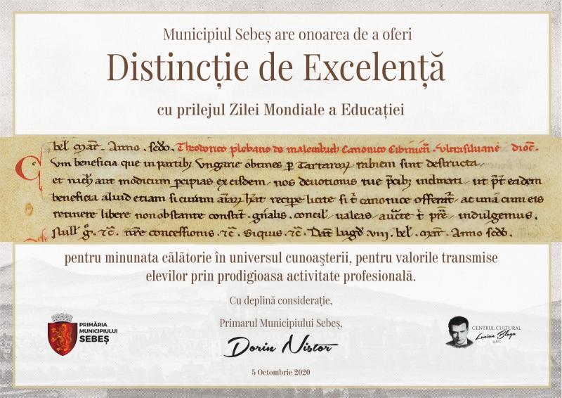 MUNICIPIUL SEBEȘ A MARCAT ZIUA MONDIALĂ A EDUCAȚIEI PRINTR-UN GEST DE GRATITUDINE OFERIT TUTUROR INSTITUȚIILOR DE ÎNVĂȚĂMÂNT LOCALE