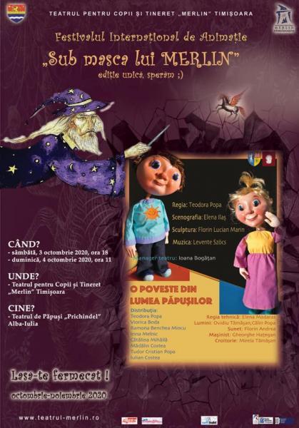 """Teatrul de Păpuși """"Prichindel"""" este invitat la Festivalul Internațional de Animație """"Sub masca lui Merlin"""" Timișoara"""