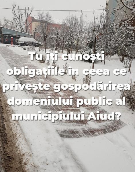 Primăria Aiud cere cetățenilor din municipiu să curețe zăpada și gheața din faţa imobilelor!