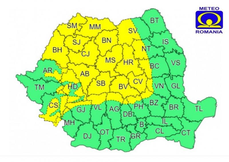ANM – Atenționare meteorologică COD GALBEN de intensificări ale vântului pentru județul Alba!