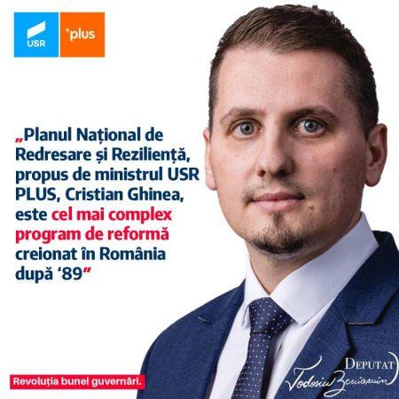 Beniamin Todosiu: Planul Național de Redresare și Reziliență, propus de ministrul USR PLUS, Cristian Ghinea, este cel mai complex program de reformă creionat în România după '89