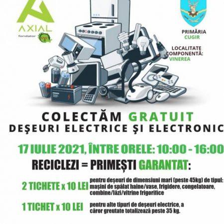 Campanie de colectare gratuită a deșeurilor electrice și electronice organizată la Cugir și Vinerea